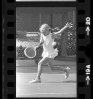 9-year-old Tracy Austin playing in the Los Angeles Junior Tennis Tournament, 1972