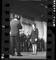 Los Angeles Police officer Carolyn L. Wallace being awarded the Medal of Valor, 1972