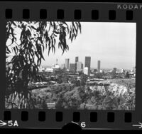 Cityscape of downtown Los Angeles, viewed from Dodger Stadium, 1972