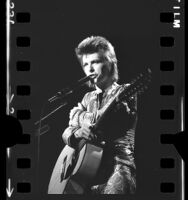 David Bowie, as Ziggy Stardust, performing at the Santa Monica Civic Auditorium, Calif., 1972
