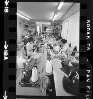 Immigrant women working as seamstresses in Los Angeles' Chinatown, Calif., 1972