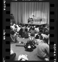 Harpsichordist, Anthony Newman taking questions from audience after performance at UCLA in Los Angeles, Calif., 1973