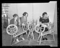 Women spinning rabbit fur on spinning wheels for Works Projects Administration Los Angeles, Calif. circa 1938