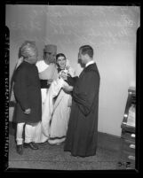 Los Angeles Judge Stanley Mosk conducting marriage for Hindu couple, circa 1947