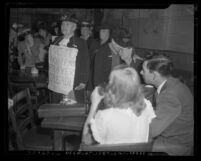 Women's Christian Temperance Union lecturing on evils of liquor in bar in Pasadena, Calif., 1947