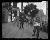CIO demonstration against Taft-Hartley Bill on Los Angeles City Hall steps, 1947