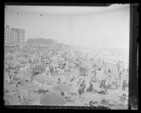 Crowds of people on Venice Beach, Calif., circa 1947