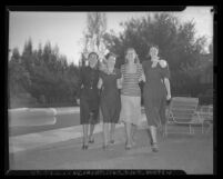 Beverly Hills Chapter of Junior Hadassah members Judy Segel, Sylvia Reisler, Shirley Haines, Charlotte Klein, Beverly Hills, 1947