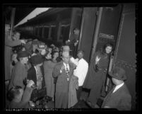 Avak Hagopian, Armenian faith healer boarding train at Los Angeles' Union Station, Calif., 1947