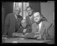 Tenney Committee members, state senators Louis Sutton, Hugh Burns, Clyde Watson, Jack B. Tenney, circa 1947