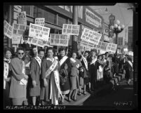 International Ladies Garment Workers Union rally against Taft-Hartley Act in Los Angeles, Calif., circa 1948