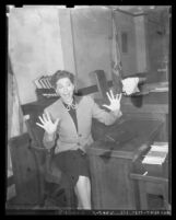Comedian Fanny Brice in playful pose, circa 1938