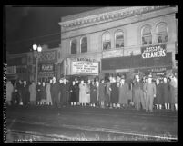 "Anti-Nazi march with theater marquee reading ""Closed Tonite Protest Nazi Horror"", Los Angeles, 1938"
