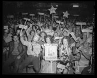 Students holding mock Republican convention at Huntington Park High School in Los Angeles, Calif., 1948