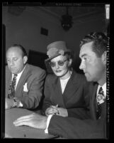 Max Solomon, alleged madam Marie Mitchell (aka Brenda Allen) and John J. Bradley in court, Los Angeles, Calif., 1948