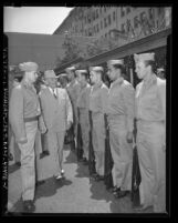 President Harry S. Truman reviewing troops during visit to Los Angeles, Calif., 1948