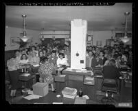 Crowded marriage license office after draft boards announced in Los Angeles, Calif., 1948