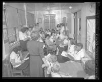 Teenage girls in classroom at Juvenile Hall in Los Angeles, Calif., circa 1948