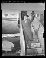 Sessue Hayakawa, Japanese actor and producer, disembarking plane in Los Angeles, Calif., circa 1948
