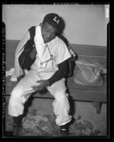 Booker T. McDaniels, pitcher for Los Angeles Angels, 1949