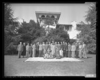 Paramahansa Yogananda with Self-Realization Fellowship members, group portrait, 1949