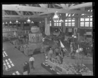 Exhibits in main building of Orange County Fair, Calif., 1949