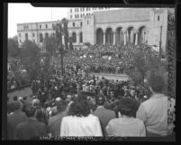 Crowd of 15,000 outside Los Angeles City Hall in 1948 protesting U.S. Palestine policy