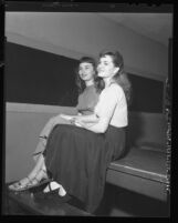 Jackie Knight and Jo Glenn at Lincoln Heights Jail after being booked on morals charges in Los Angeles, Calif., 1948