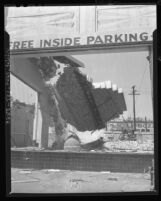 Wall of a historic building in the process of being demolition along N. Broadway between Sunset and Ord in Los Angeles, Calif., 1948