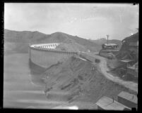 Side-view of Mulholland Dam and Hollywood Reservoir, Calif., 1925