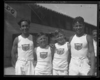 "Junior Olympic athletes Johnny Falcon, Jerry Deal, Rex Heap and Mike Pina in ""Los Angeles 1932"" uniforms in Los Angeles, Calif., 1929"