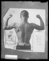 Junior Olympic Champion Tony Galasso's backside as he flexes his muscles, Los Angeles, Calif., 1928