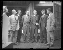 Los Angeles Park Commissioner Van Griffith with a group of men, circa 1920