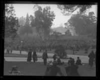 Crowd at annual picnic at Lincoln Park for Iowans living in California, Los Angeles, circa 1928