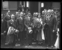 Prince Takamatsu, his wife, and their entourage posing at Los Angeles, Calif. train station in 1931