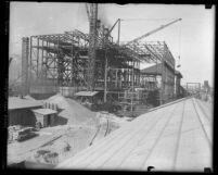 Steel skeleton of Southern California Edison power plant in Long Beach, Calif., 1924