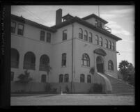 Side-angled view of front of Los Angeles Seminary, circa 1920