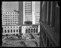 View of construction on Los Angeles City Hall as seen from building across the street, Los Angeles, 1928