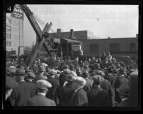 Mayor George Cryer addressing the crowd at the Commerce Club's groundbreaking ceremony in Los Angeles, Calif., 1933