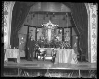 Count Otani standing at Los Angeles' Hongwanji Buddhist temple's altar in 1925