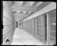 Interior of Los Angeles, Calif. Lincoln Heights jail showing jail cells, circa 1920