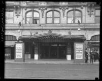 Façade of the Majestic Theatre entrance with dentists' offices above in Los Angeles, Calif., circa 1920