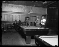 Men shooting pool at the Los Angeles Men's Club, circa 1920