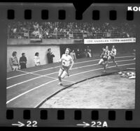 Steve Prefontaine and Marty Liquori running the mile at the 14th annual Los Angeles Times Indoor Games, Calif., 1973