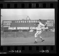 Nolan Ryan, pitching in spring training game in Palm Springs, Calif., 1973