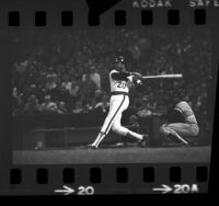 California Angels', Frank Robinson at bat during game in 1973