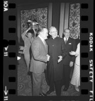 Bob Hope with Cardinal James Francis McIntyre at Ladies of Charity luncheon in Los Angeles, Calif., 1973