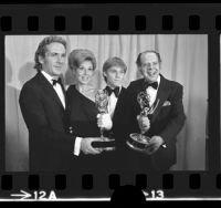 "Robert L. Jacks, Michael Learned, Richard Thomas and Lee Rich with their Emmys for ""The Waltons,"" 1973"