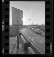 Car pool lane sign at on-ramp of San Diego Freeway, Calif., 1973