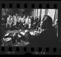 U.S. Senator Henry M. Jackson meeting with representatives of western independent gasoline companies in Los Angeles, Calif., 1973